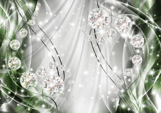 Фотообои Бриллианты на зеленом фоне