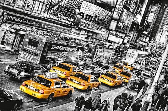 Фотообои Такси в ночном траффике