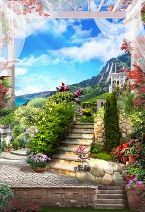 Фотообои Лестница к дому в горах