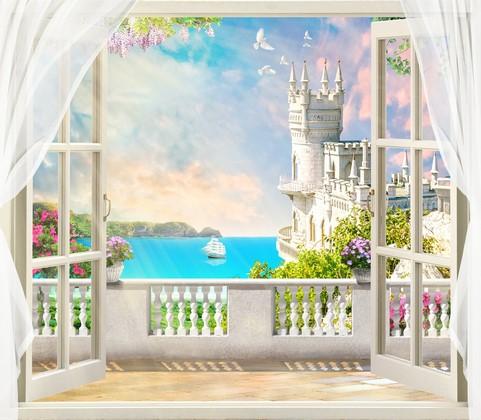 Фотообои Солнечный балкон с видом на голубое море