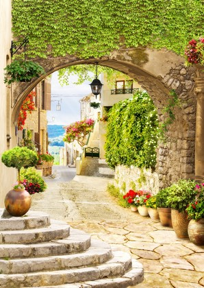 Фотообои Уютный двор в зелени и цветами