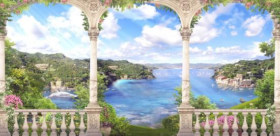 Фотообои Фреска с видом на море и горы