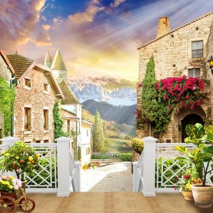 Фотообои Кирпичные дома с цветами и горы