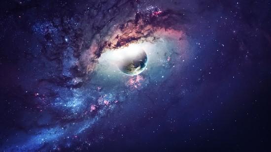 Фотообои Космос фиолетовый с планетой и звездами