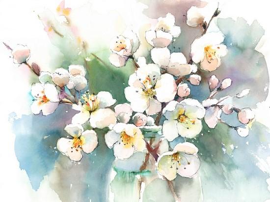 Фотообои Цветы в акварели