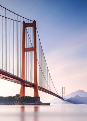 Фотообои Мост оранжевый ведущий в горы