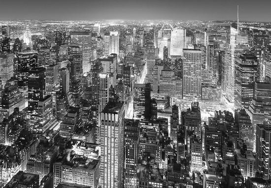 Фотообои Черно-белые небоскребы.Вид с птичьего полета