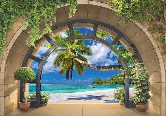 Фотообои Круглая арка с видом на дикий пляж