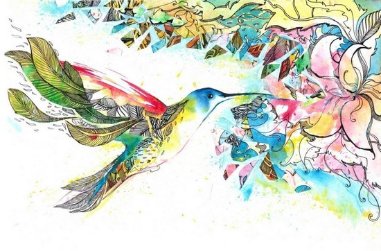 Фотообои Птица и лилия