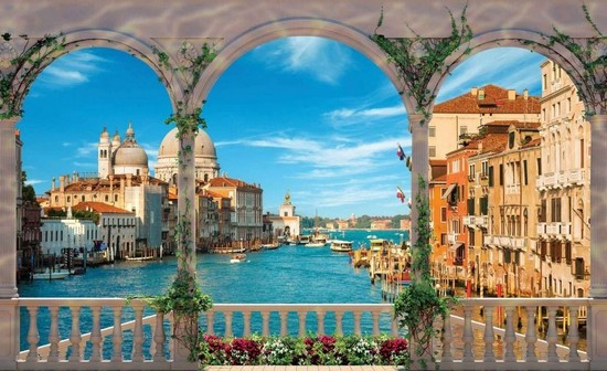 Фотообои Вид с балкона на Венецию и Итальянски канал