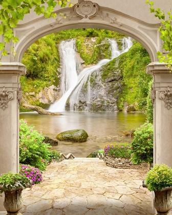 Фотообои Вид на два водопада