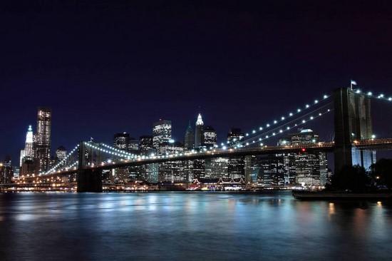 Фотообои Ночной город.Нью-Йорк.Мост