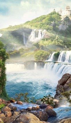 Фотообои Горячий источник у водопадов