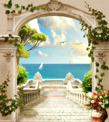 Фотообои Лестница к голубому морю