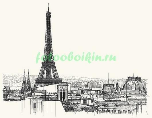 Фотообои Париж на белом фоне