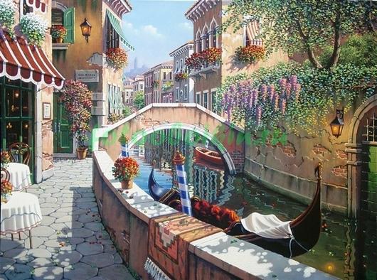 Фотообои Венеция кафе у канала