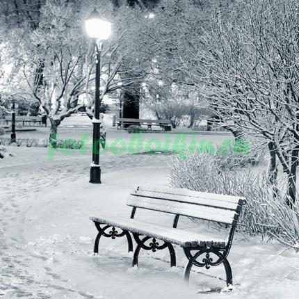 Фотообои Заснеженная скамья