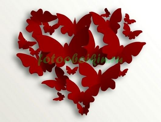Фотообои Бабочки в виде сердца