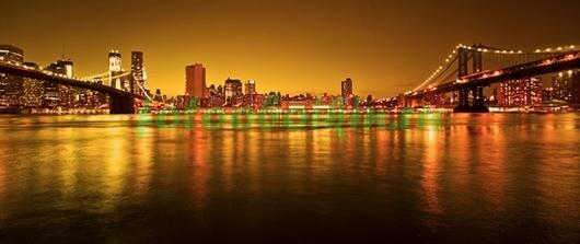 Фотообои Вид на Нью-Йорк в оранжевом цвете