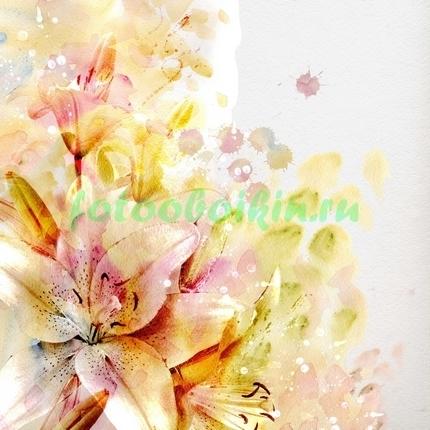 Фотообои Нарисованный букет лилий