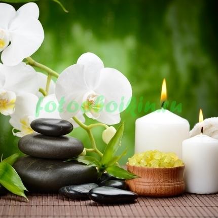 Фотообои Белая орхидея с камнями