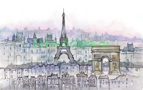 Фотообои Париж рисунок акварелью