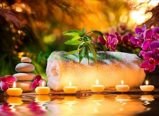 Фотообои Свечи камни и цветы