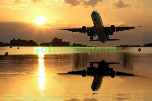Фотообои Самолет отражается в воде