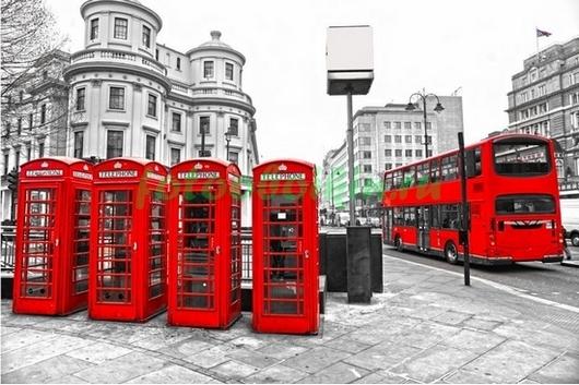 Фотообои Лондонские телефонные будки и автобус