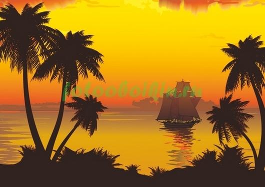 Фотообои Фрегат на закате