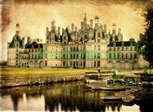 Фотообои Старая открытка с замком