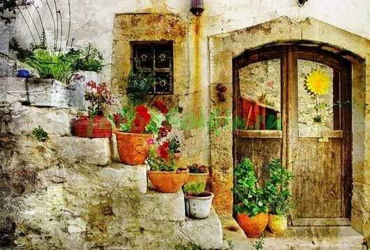 Фотообои Цветы на лестнице