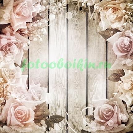 Фотообои Цветы на фоне досок