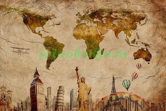 Фотообои Карта с достопримечательностями мира