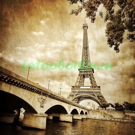 Фотообои Мост перед Эйфелевой башней