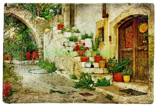 Фотообои Дворик с цветочными горшками