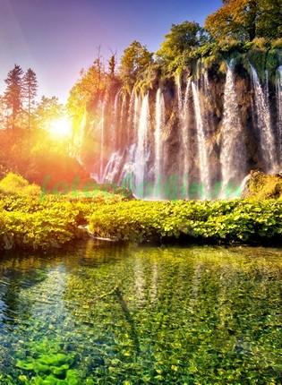 Водопад на рассвете 3Д