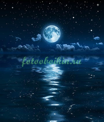 Фотообои Луна со звездами над морем