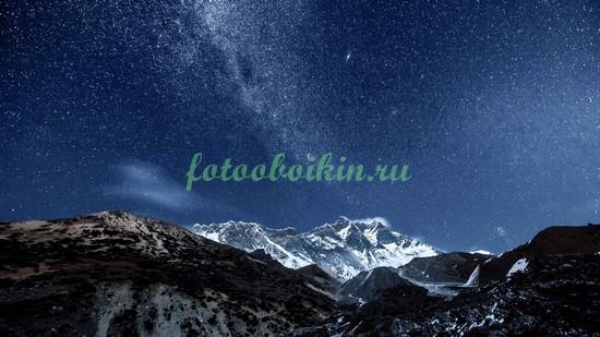 Фотообои Ночное небо в горах