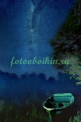 Фотообои Лодка звездное небо