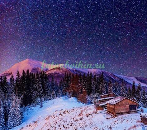 Фотообои Зима ночное небо