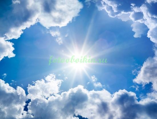 Фотообои Солнце в облачном небе