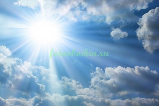 Фотообои Солнце в небе с облаками