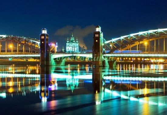Фотообои Большеохтинский мост ночью
