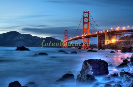 Фотообои Красный мост вечером
