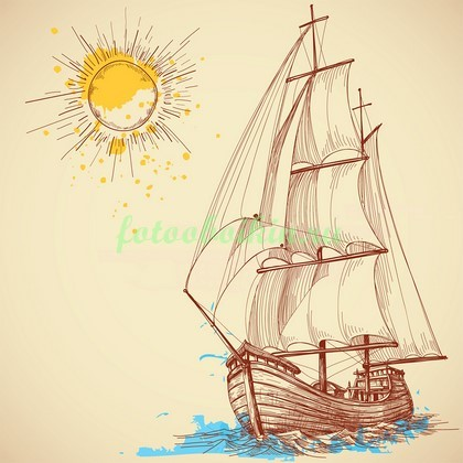 Фотообои Рисунок корабля