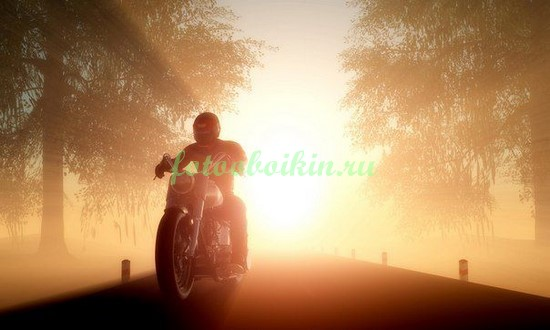 Фотообои Мотоцикл на закате