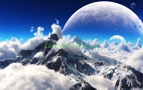 Фотообои Горы на фоне планеты