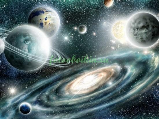 Фотообои Пейзаж с планетами