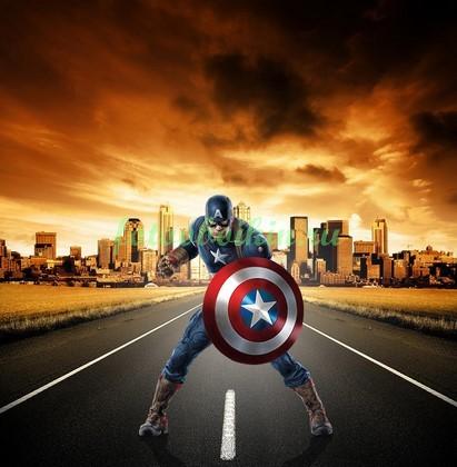Фотообои Капитан Америка на дороге